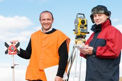 Surveyor workers with theodolite Royalty Free Stock Photo