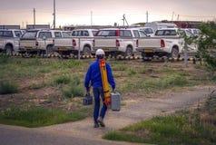 Surveyor. Working in the desert Betpakdala, June 2015 stock photography