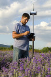 Surveyor working in a lavender field. With GPS Stock Photo