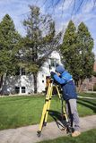 Surveyor working with theodolite Royalty Free Stock Image
