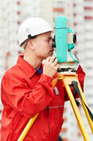 Surveyor works with theodolite. One surveyor worker with theodolite equipmant outdoors input the data Royalty Free Stock Images
