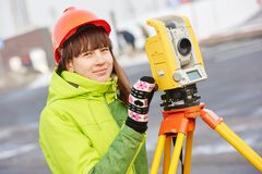 Surveyor works with theodolite Stock Images