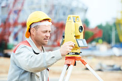Surveyor works with theodolite Royalty Free Stock Photography