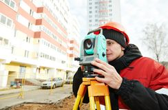 Surveyor works with theodolite Stock Photography