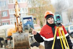 Surveyor works with theodolite Royalty Free Stock Photo