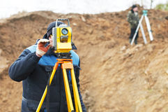 Surveyor works with total station Stock Photography