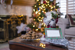 Surving Molasse Cookie to Santa Clause Royalty Free Stock Image