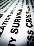 Survival. Word survival writing on a sheet of paper Stock Photos