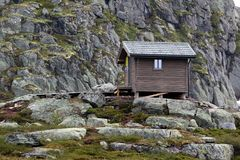 Survival cabin on the way to Trolltunga, Hordaland county, Norway.  stock photos