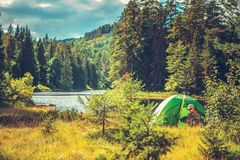 Survival Camping in the Wild Royalty Free Stock Image