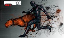 Survival. 3d illustration tiger survival particles Stock Photos
