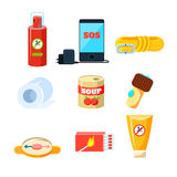 Survival emergency kit for evacuation, Items, Active Rest. Vector Illustration Set Stock Image