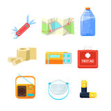 Survival emergency kit for evacuation, Items Active Rest. Vector Illustration Set Stock Images