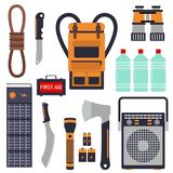 Survival emergency kit for evacuation vector equipment items. Survival emergency kit for evacuation vector objects set equipment items travel camp tool Royalty Free Stock Photo
