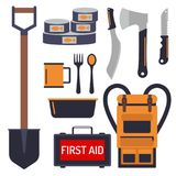 Survival emergency kit for evacuation vector equipment items travel camp. Survival emergency kit for evacuation vector objects set equipment items travel camp Royalty Free Stock Photography