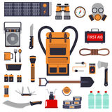 Survival emergency kit for evacuation vector objects set. Royalty Free Stock Photos