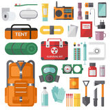 Survival emergency kit for evacuation vector objects set. Royalty Free Stock Images