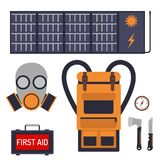 Survival emergency kit for evacuation vector equipment items travel camp tool backpacking exploration tourism hiking. Survival emergency kit for evacuation Stock Images