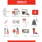 Survival emergency kit. For evacuation, vector objects set on white background Stock Images