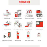 Survival emergency kit. For evacuation, vector objects set on white background Stock Image