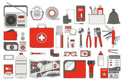 Survival emergency kit. For evacuation, vector objects set on white background Royalty Free Stock Photo