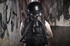 Survival.Environmental disaster. Post apocalyptic survivor in ga. S mask,scare Stock Image