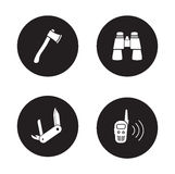 Survival equipment black icon set Stock Photos