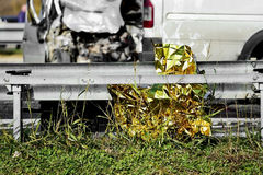 Survival foil seen at a car crash scene Stock Photography