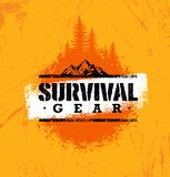 Survival Gear Extreme Outdoor Adventure Creative Design Element Concept On Rough Stained Background.  Royalty Free Stock Photography