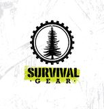 Survival Gear Extreme Outdoor Adventure Creative Design Element Concept On Rough Stained Background Royalty Free Stock Photo