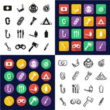 Survival Kit All in One Icons Black & White Color Flat Design Freehand Set. This image is a vector illustration and can be scaled to any size without loss of Royalty Free Stock Photography