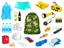 Survival kit. Backpack and survival kit in case of the nature disasters Stock Images