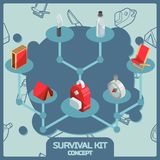 Survival kit color isometric concept icons. Vector illustration, EPS 10 Stock Image