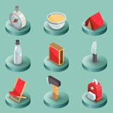Survival kit color isometric icons. Vector illustration, EPS 10 Stock Images
