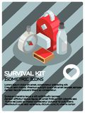 Survival kit color isometric poster. Vector illustration, EPS 10 Royalty Free Stock Photo