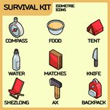 Survival kit color outline isometric icons. Vector illustration, EPS 10 Stock Photo
