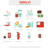 Survival kit. Survival emergency kit for evacuation, vector objects set on white background Royalty Free Stock Photos
