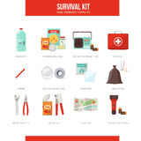 Survival kit. Survival emergency kit for evacuation, vector objects set on white background Stock Image