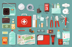 Survival kit. Survival emergency kit for evacuation, vector objects set on white background Royalty Free Stock Image