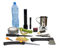 Survival kit with emergency supplies Royalty Free Stock Images