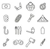 Survival Kit Icons Thin Line Vector Illustration Set. This image is a vector illustration and can be scaled to any size without loss of resolution Stock Photography