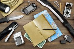 Free Survival Kit Laid Out On The Wood Floor Stock Photography - 61750552