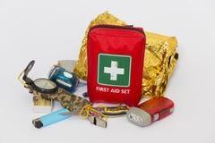 Survival kit. Mountain basic survival kit on a white background royalty free stock image