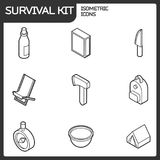 Survival kit outline isometric icons. Vector illustration, EPS 10 Royalty Free Stock Photography