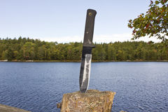 Survival knife. A well worn survival knife royalty free stock image
