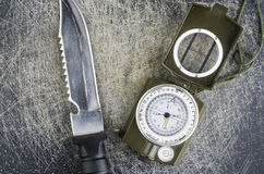 Survival Knife And Military Compass Royalty Free Stock Photography
