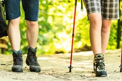 Two hikers travelling together. Survival leisure trekking nature holidays relax concept. Two hikers travelling together. People on outdoor trip Stock Image