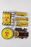 Survival pack with a biohazard symbol. Stock Photos