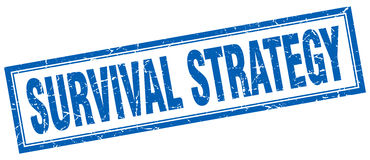 Survival strategy square stamp. Survival strategy blue square stamp Royalty Free Stock Photography