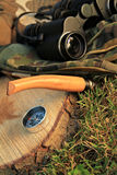 Survival tools in outdoor camp royalty free stock image
